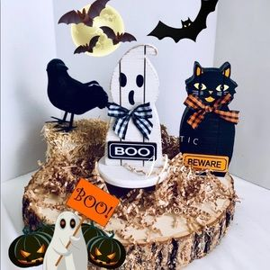 Farmhouse Halloween Wood Decor Set of 2